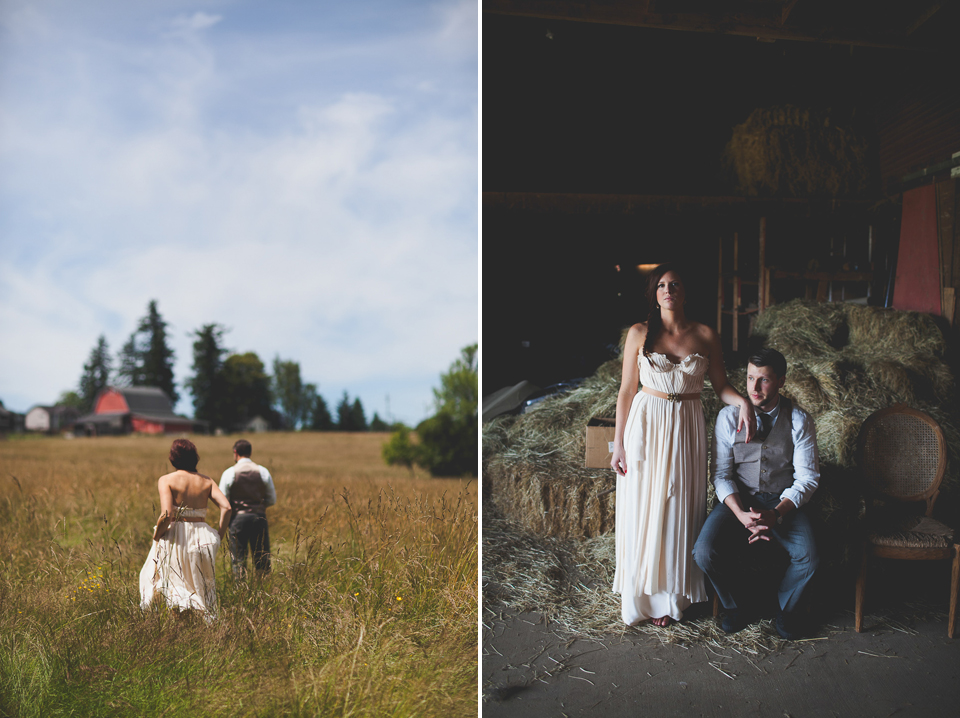 farm wedding in washington, creative wedding portraits
